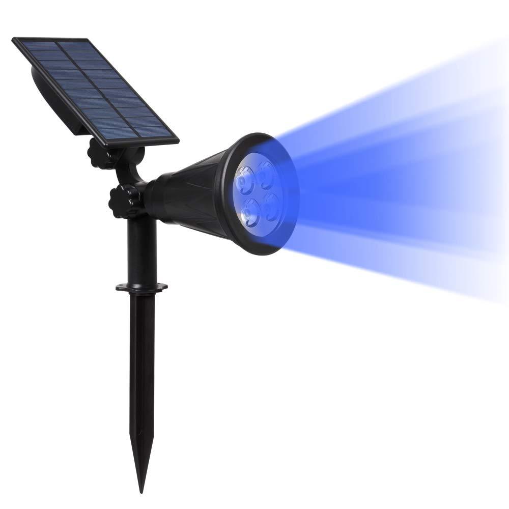 ILIKE Solar Lights Outdoor Bright Adjustable 4 LED Landscape Lights Waterproof 2-in-1 Wall Lights in-Ground Light Security Lighting Dark Sensing Auto On/Off Solar Uplight (Blue-1 Pack)