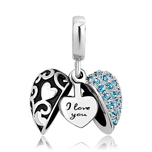 Charmed Craft Heart I Love You Charms Openable Crystal Charms Dangle Beads for Snake Chain Bracelets (blue-1)