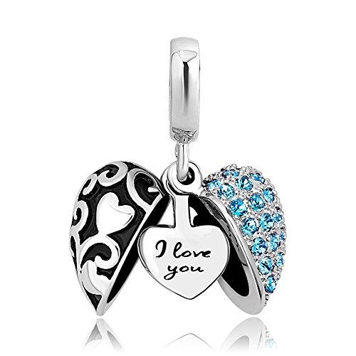 ShinyJewelry I Love You Heart Charm Dangle Bead for European Bracelet Necklace (Blue-1)
