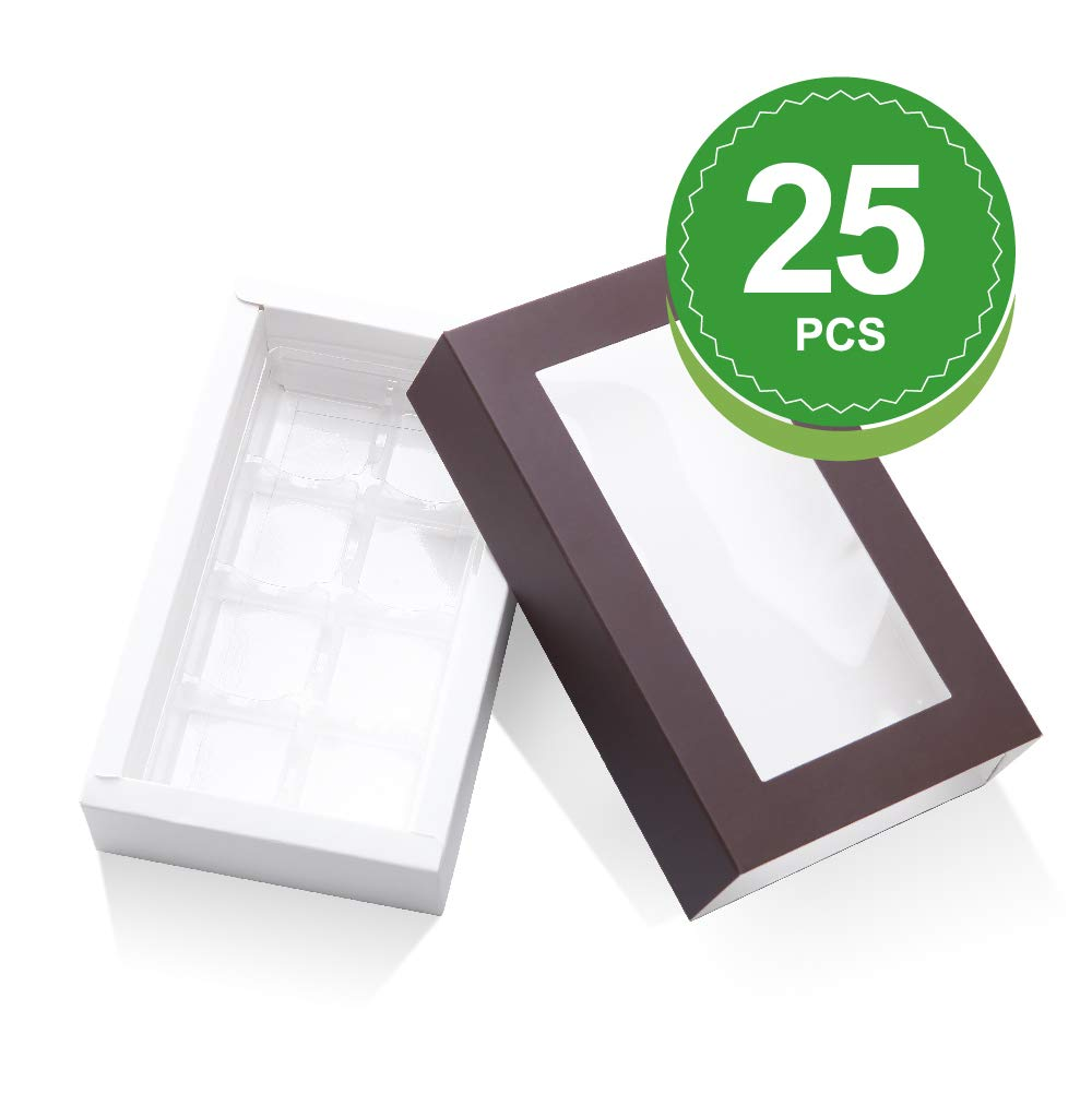 BAKIPACK Truffle Box, Chocolate Box Packaging, Candy Boxes with 8-Piece Plastics Tray(Tray Size with 5.75x2.75 Inches), Pull Out Packing with Clear Window Sleeves, Dark Brown 25 PCS