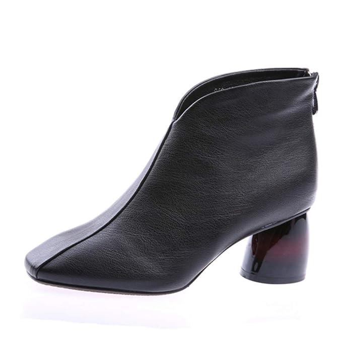 RegbKing Botines Chelsea Botas De Mujer Botines De Cuero Chunky 6cm Bloque Tacón De Cuero Cremallera De Invierno Zapatos Casuales: Amazon.es: Ropa y ...