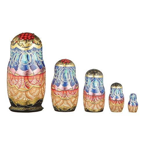danila-souvenirs Russian Wooden Nesting Dolls Hand Painted Matryoshka 5 pcs Set Winter 6'' by danila-souvenirs (Image #1)