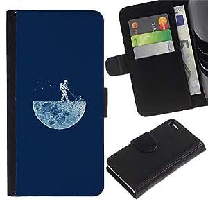EJOY---Tirón de la caja Cartera de cuero con ranuras para tarjetas / Apple Iphone 4 / 4S / --DIVERTIDO LAWNING LA LUNA