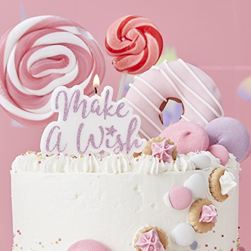 Birthday Candle Cake Candles Pink Candles with Glitter Make a Wish Pk 1 by Ginger Ray