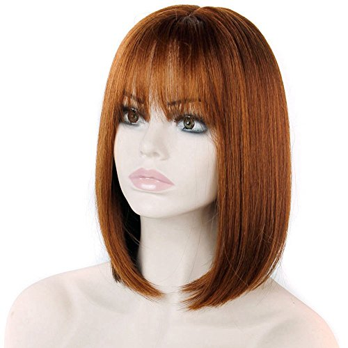 DENIYA Red Brown Bob Wigs Short Straight Wigs with Bangs for Women (Red Wig With Bangs)