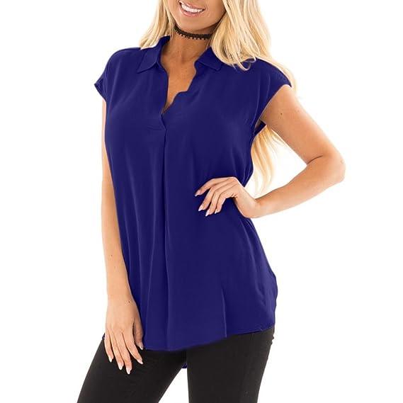 OHQ_Camisetas Mujer Verano Blusas Camisa De ChifóN Suelta De Manga Corta con Cuello En V Vino