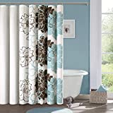 Blue and Brown Curtains Madison Park MP70-324 Lola Cotton Shower Curtain, Blue/Brown