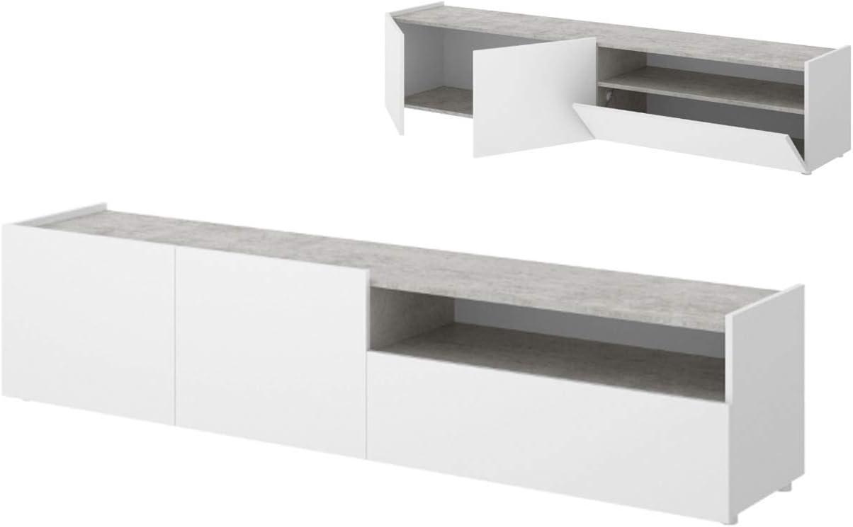 HABITMOBEL Mueble de TV, Acabado Blanco y Grafito, Medidas 204 cm (Largo) x 48 cm (Alto) x 42 cm (Fondo): Amazon.es ...