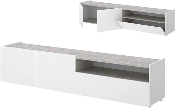 HABITMOBEL Mueble de TV, Acabado Blanco y Grafito, Medidas 204 cm ...