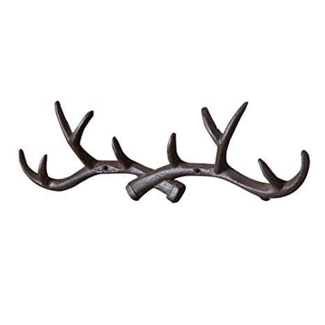 Vintage Cast Deer Antlers Wall Hooks (10 Hooks) Coat Rack Decorative For  Hanging Hat