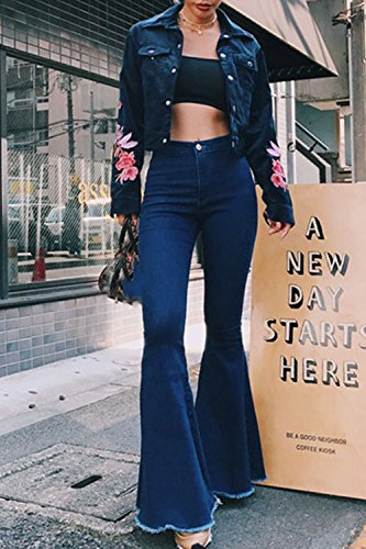 Denim Pantalon Darkblue Long Haute Mesdames Pantalons Taille Jean Leur Baggy Suvimuga w4PqYP