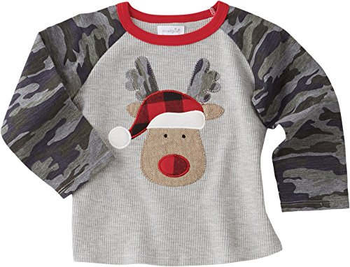 Mud Pie Reindeer (Mud Pie Baby Toddler Boys' Christmas Camo Long Sleeve Waffle Weave Raglan T-Shirt, Reindeer, SM/12-18 Months)