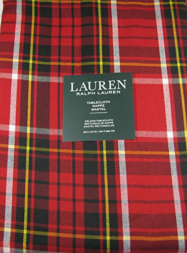 Ralph Lauren Gretchen Tartan Plaid Tablecloth Red 60 x 104 -