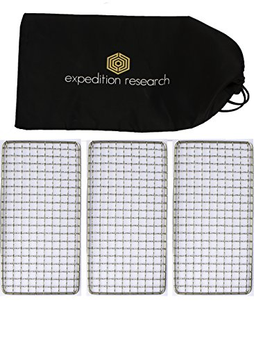Expedition Research LLC Family 3-Pack – The Original Bushcraft Grill – Welded Stainless Steel High Strength Mesh Campfire Rated , USA