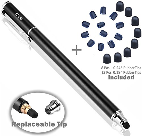 Bargains Depot 2-in-1 Stylus Touch Screen Pen for iPhone, Ipad, iPod, Tablet, Galaxy and More with 20Pcs Rubber Tips-Black ()