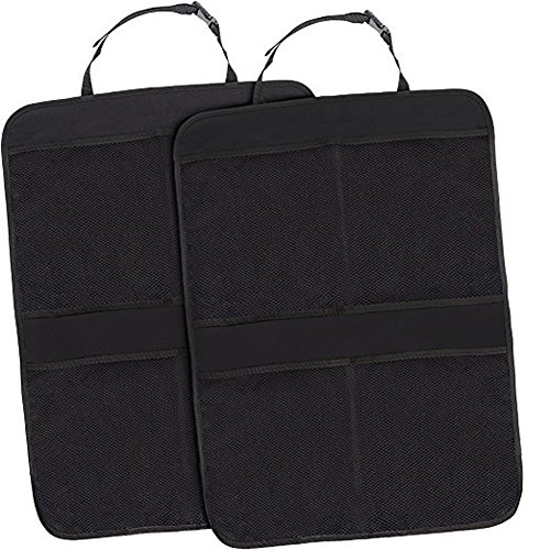 ''Kick Mat Car Seat Back Organizer With On Smell,Extra Large Size For Maximum Coverage,Reinforced Corners To Prevent Sag And 4 Large Storage Organizer Pockets '' (Black) by MINSINHO (Image #2)
