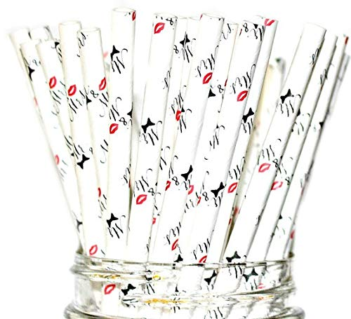 Mr. & Mrs. Paper Straws- Party Disposable Straws Wedding or Bridal Shower Decorations (50 Straws) -