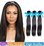 Rechoo Brazilian Virgin Remy Straight Hair Weave Unprocessed Human Hair Extension Silky Straight 3 Bundles 300g Natural Black 16