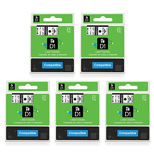 - 5-Pack Replace D1 Label Tape D1 45013 45010 Black on White/Clear 1/2'' W x 23' L Compatible with DYMO LabelManager 160 LabelManager 280 LabelManager 360D