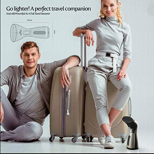 iSteam Steamer for Clothes [Luxury Edition] Powerful Dry Steam. Multi-Task: Fabric Wrinkle Remover- Clean- Refresh. Handheld Clothing Accessory. for All Kind of Garments. Home/Travel [MS208 Gold] 6