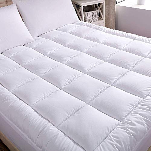 WhatsBedding Waterproof Mattress Pad Full Size Cotton Top Hypoallergenic Down Alternative Filling Pillowtop Mattress Topper Cover-Fitted Quilted(Waterproof Full)