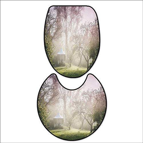 2 Piece Extended Bath mat Set Pavilion in Moody Garden with Trees Misty Hazy Weather Foggy Nature Image for Mauve Green White. 2 Piece Toilet Cover Set 17