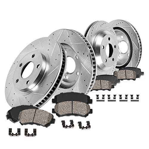 (Callahan CDS02354 FRONT 321mm + REAR 315mm D/S 5 Lug [4] Rotors + Ceramic Pads + Clips [ for 2010-2015 Chevy Camaro)