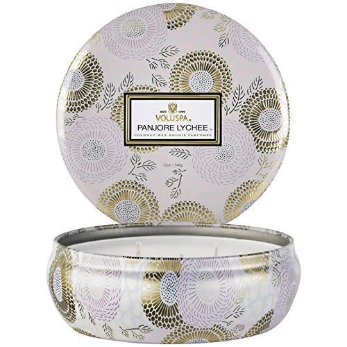 Voluspa Panjore Lychee 3 Wick Tin Candle, 12 - Scented Candle Lychee