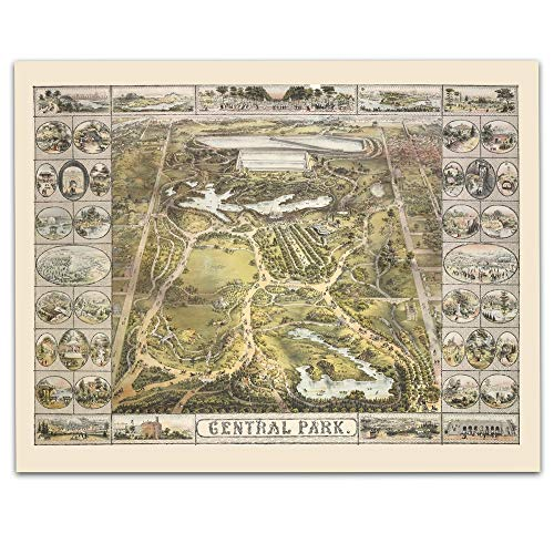 Central Park New York Vintage Map - Circa 1863-11 x 14 Unframed Print - Great Housewarming Gift. New York Themed Office Decor. Great Gift for the New Yorker in Your Life