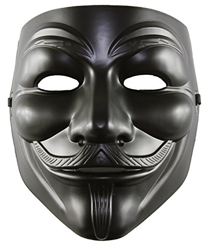 [Matte Black Full Face Guy Fawkes V Vendetta Political Cover Mask] (Political Couple Costumes)