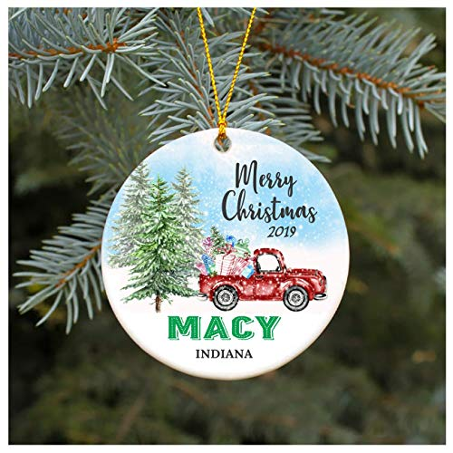 Christmas Ornament 2019 Macy Indiana IN Christmas Decoration Funny Gift Christmas Together First Christmas as a Family Couples Gifts Boyfriend Girlfriend 3