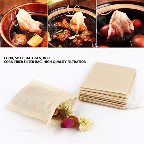 300PCS Tea Filter Bags, Disposable Paper Tea Bag with Drawstring Safe Strong Penetration Unbleached Paper for Loose Leaf Tea and Coffee by WINIT (Image #7)
