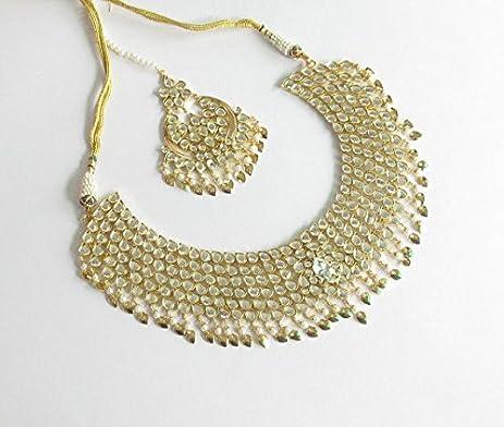 Amazon Bridal Jadau Gold Kundan Pipal Patti Necklace Jewelry