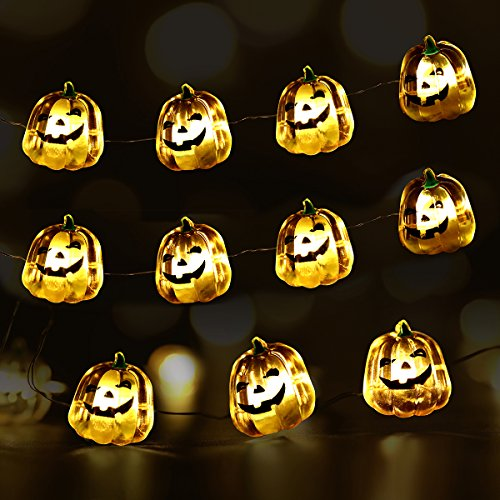 YUNLIGHTS Halloween Pumpkin String Lights 40 LEDs with 7 Modes 3 Meters Waterproof, Battery Operated With Remote (Halloween Pumpkin Lights Led)
