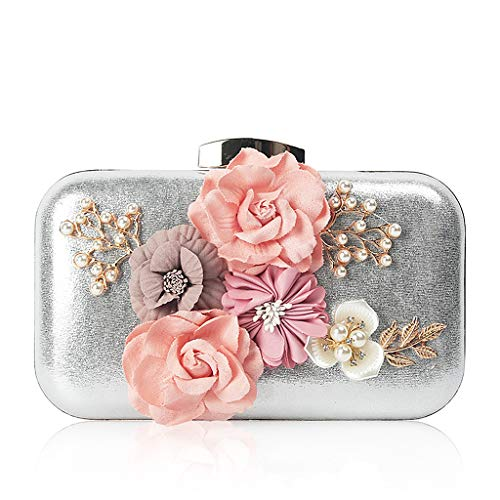 Wallet Evening Flower Purse 2 Chain Prom SLYlive Clutch Wedding Women Bag Silver Party Luxury BpwnUpaP0q