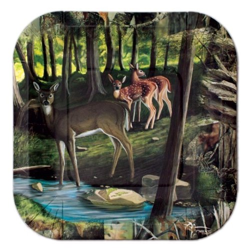 """Deer Hunting Dessert Plates (7"""" Square paper plates, Next Camouflage Border, 8 Pack) Next Camo Party Collection by Havercamp"""
