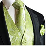 Lime Green Paisley Tuxedo Vest Set