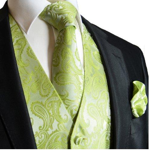 Wedding Vest Set, Lime Green Paisley,Green,X-Large