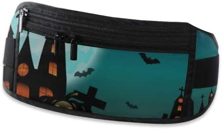 Travel Waist Pack,travel Pocket With Adjustable Belt Halloween With Haunted House Pumpkin Running Lumbar Pack For Travel Outdoor Sports Walking