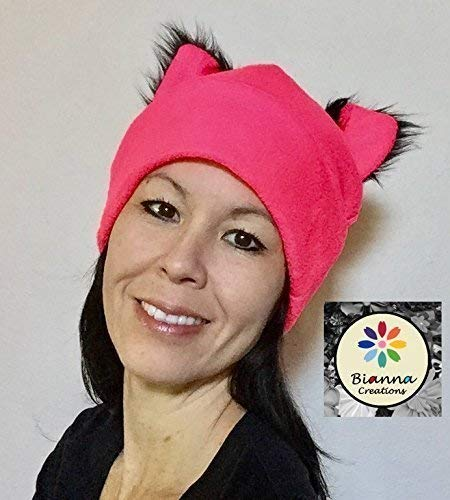 95621efbaacf75 Amazon.com: Handmade Black Faux Fur Ears Neon Pink Pussyhat, Fleece Pussy-hat  Pussy-cat Pussycat CatCosplay Anime Manga Womens March Hat Beanie, ...
