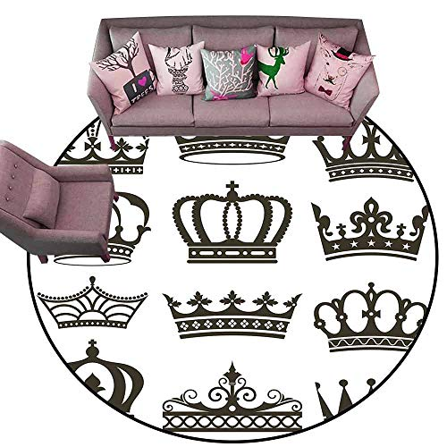 Office Chair Floor Mat Foot Pad King,Symbol of Royalty Crowns Tiaras for Reign Noble Queen Prince Princess Cartoon Desgin,Army Green Diameter 72