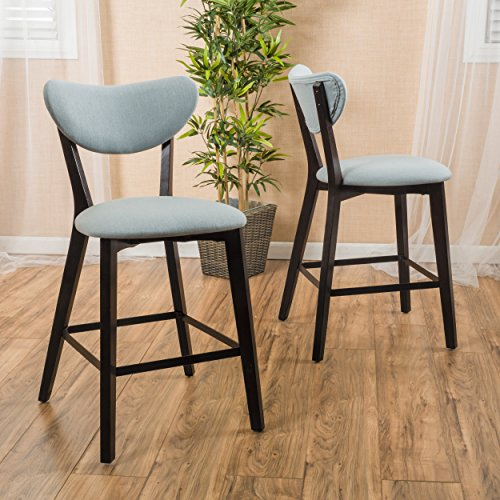 Modern Fabric Upholstered Half Moon Seat Back Set of 2 Armless Counter Stool with Dark Brown Solid Wood Legs - Includes Modhaus Living Pen - Regency Set Bar Stool