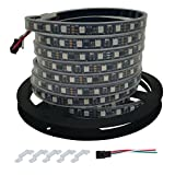 HAMRVL 16.4ft 300 LEDs 12V WS2811 Magic Dream Color RGB Addressable LED Flexible Strip Light Waterproof for TV Backlight Outdoor Advertising Signs IP67 Black PCB (60LED IP67)