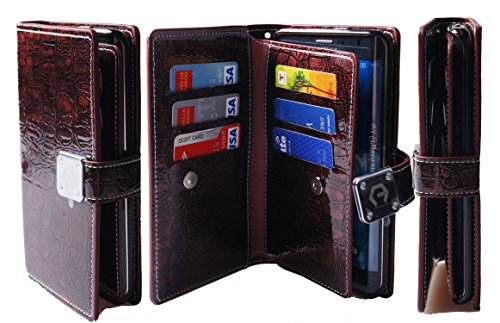 Note Edge Case,[Shine Wine] [Dual Wallet] [6 Card Slot,3 Bill Slot] [Wristlet] PU Leather TPU Bumper Clutch Case [Drop Protection] For Samsung Galaxy Note Edge N915