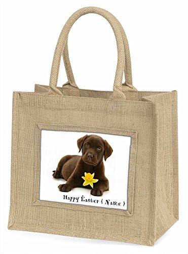 Advanta personalisierbar Name Labrador große Einkaufstasche/Weihnachten Geschenk, Jute, beige/natur, 42x 34,5x 2cm