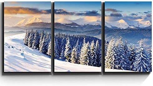 Print Contemporary Art Wall Decor Snowy Mountain Silent Winter Scene Artwork Wood Stretcher Bars x3 Panels