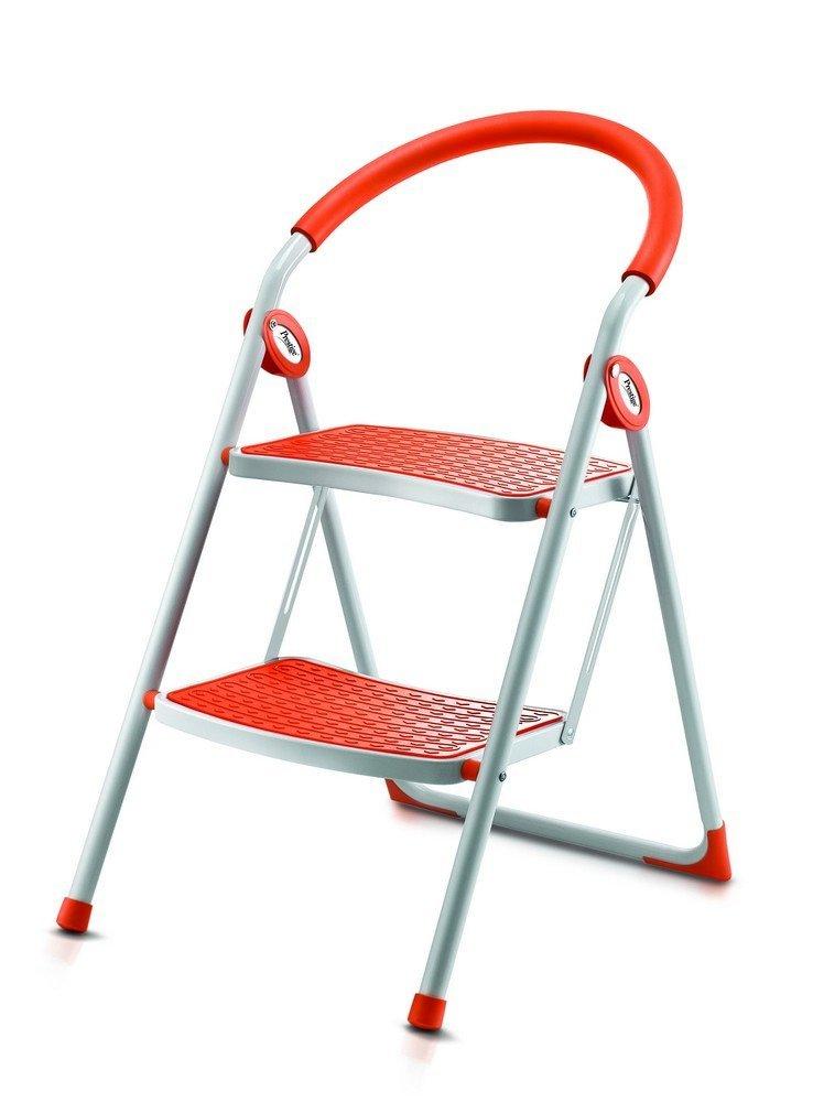 Prestige Step-On 49051 Steel 2-Step Step Ladder (White and Orange)