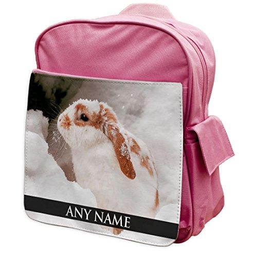 personalisierbar weiß Kaninchen Animal Pink Rucksack Rucksack 320