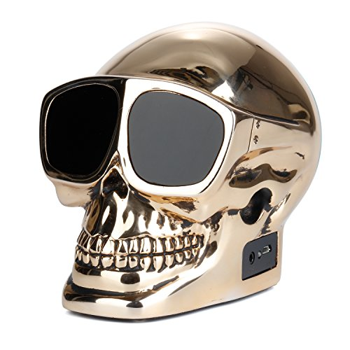 LENMO Bluetooth Speaker Skull Portable Wireless Bluetooth Speaker 4.0 Superior Bass Hand-made Polymer Resin in Retro Style for Desktop PC/Laptop Noteb…