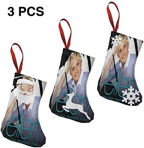 クリスマスの日の靴下 (ソックス3個)クリスマスデコレーションソックス Ellen クリスマス、ハロウィン 家庭用、ショッピングモール用、お祝いの雰囲気を加える 人気を高める、販売、プロモーション、年次式